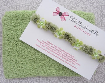 Newborn Baby Swaddle Wrap in Celery AND/OR Flower Halo Headband, swaddle set, baby halo, bebe photo bandeau, Lil Miss Sweet Pea