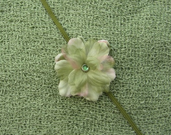 Sage Flower Headband AND/OR  Sage Stretch Knit Wrap, for photo shoots, new baby, bebe newborn infant photographer, Lil Miss Sweet Pea