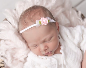 White stretch lace swaddle and knit headband with lace, ribbon and a pink rose, bebe, by Lil Miss Sweet Pea