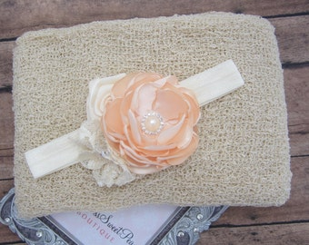 Linen Stretchy Knit Wrap AND/OR Matching Cluster Flower Headband, photo shoots, newborn swaddle wrap, bebe foto, Lil Miss Sweet Pea