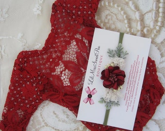 Cranberry newborn lace romper, stretch lace, unlined, AND/OR matching flower headband, bebe foto, photo Christmas baby, Lil Miss Sweet Pea