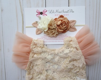Lace Romper, light peach stretch lace with flutter sleeves, unlined, AND/OR matching cluster flower headband, bebe foto, Lil Miss Sweet Pea
