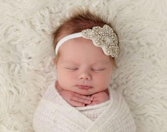Rhinestone Applique Headband on Soft Stretch 3/8 inch Elastic. Newborn Photo Prop, baby bling, wedding, bride, by Lil Miss Sweet Pea