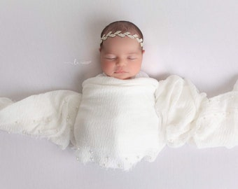 Newborn Muslin Swaddle AND/OR Silver rhinestone leaf headband, photoshoot, bebe, baby bling, bandeau bebe, Lil Miss Sweet Pea