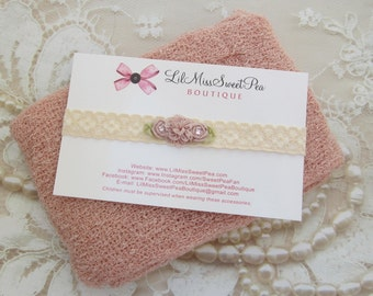 Blush Stretch Knit Swaddle Wrap and/or Matching Vintage Lace Headband, for a teenie infant, photo shoot, baby photo, by Lil Miss Sweet Pea