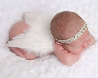 White Feather Angel Wings and/or matching hand beaded headband for newborn photos, infant baby, bebe foto, prop, by Lil Miss Sweet Pea