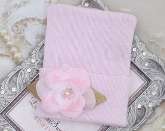 Baby Pink Newborn Hospital Hat with a Pink Flower, baby hat, infant, knit hat, Lil Miss Sweet Pea Boutique