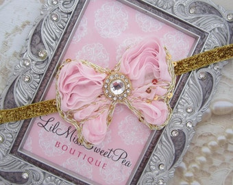 Pink and Gold Butterfly on Gold Glitter Headband for all ages by Lil Miss Sweet Pea, Photography Prop, Birthday, Newborn, Photo Bebe