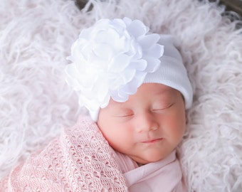 Newborn Hospital Hat, white with 4 inch pink or white chiffon flower, baby hat, infant, shower gift, Lil Miss Sweet Pea