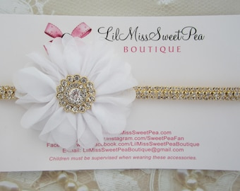 Gold rhinestone bling headband ONLY or WITH white petal flower, wedding, baptism, newborn photography, bebe, Lil Miss Sweet Pea