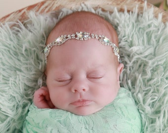 Iridescent Rhinestone Headband for girls, perfect for newborns and photo shoots for all ages, lots of bling! By Lil Miss Sweet Pea