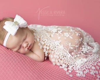 White Lace Fringe Swaddle Wrap AND/OR Lace Bow Headband, newborn photos, layering lace, birthday, Christening, Lil Miss Sweet Pea