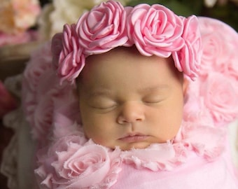 Pink Satin Rose Halo for all ages, perfect for photo shoots, these flowers measure 2 inches each, by Lil Miss Sweet Pea