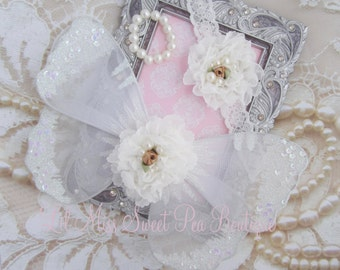 Baby Butterfly Wings and Headband with Pearl Bracelet in white with glitter on the wings, newborn photo, Lil Miss Sweet Pea