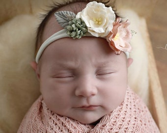 Textured Blush Knit Swaddle Wrap or Layering for Newborn Photos AND/OR Matching Couture Mulberry Flower Headband by Lil Miss Sweet Pea