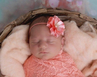 Peach Flower Headband, 2.75 inch flower, photo shoots, newborn swaddle wrap, bebe foto, satin flower, Lil Miss Sweet Pea