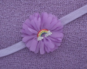 Lilac Knit Wrap AND/OR Matching Rainbow Flower Headband, 3/8 inch elastic, photo shoots, newborn swaddle wrap, bebe foto, Lil Miss Sweet Pea