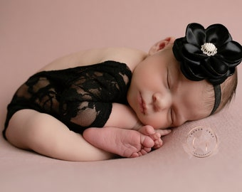 "Black Lace Romper, unlined w/sleeves, AND/OR 4"" black satin flower headband, bebe bandeau, bebe foto, Lil Miss Sweet Pea"