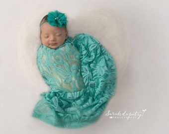 Aqua embroidered vintage lace swaddle wrap and/or teal sparkle chiffon flower headband? bebe, foto by Lil Miss Swee
