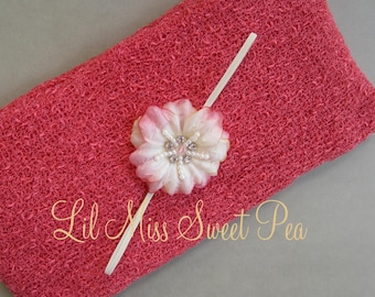 Coral Stretch Knit Wrap AND / OR Matching Beaded Center Flower Headband, baby, newborn photo shoots, bebe, foto, Lil Miss Sweet Pea 8