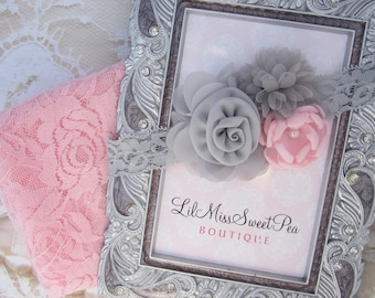 Pink stretch lace swaddle wrap AND/OR pink and grey flower headband for newborn shoots, photographer, by Lil Miss Sweet Pea