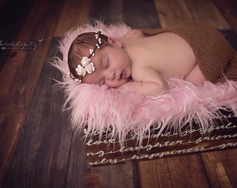 Halo with Miniature Paper Roses for a newborn photo shoot, bebe fotografia, baby headband by Lil Miss Sweet Pea