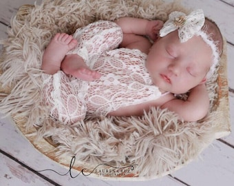 Newborn lace halter romper AND/OR lace bow tieback for photos, baby romper, bandeau, photo shoot outfit, bebe foto by Lil Miss Sweet Pea