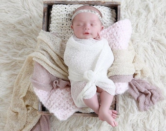 White Newborn Baby Swaddle Wrap AND / OR Beaded Rhinestone Headband, newborns, bebe, hairband, foto, photo shoots by Lil Miss Sweet Pea
