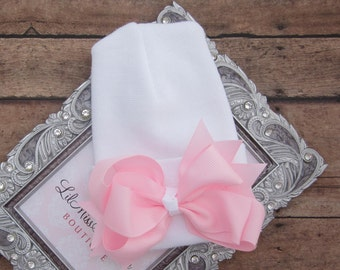 Our NEW fitted top newborn hospital hat, pink ribbon bow, latex free, take home outfit, baby beenie, by Lil Miss Sweet Pea