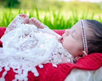 White Fringe Wrap and Headband set for girls, perfect for Christmas newborns, photoshoots, lots of bling! Lil Miss Sweet Pea