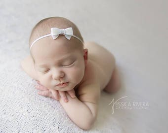 Small sequin bow baby headbands, photo prop, newborn photography, bebe foto by Lil Miss Sweet Pea