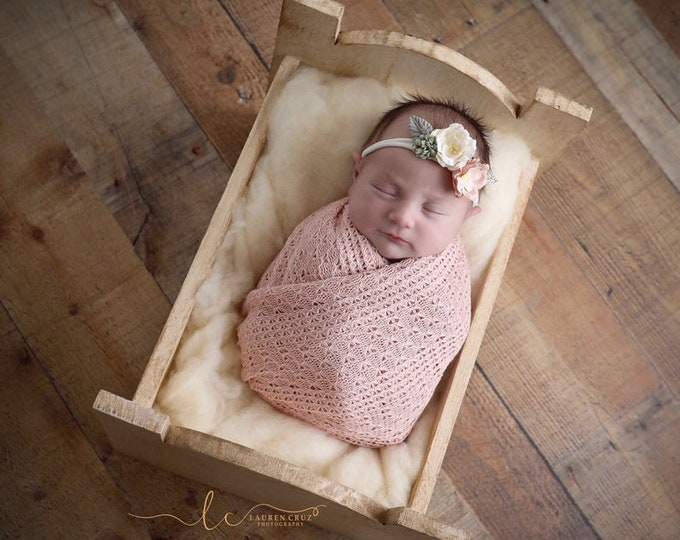 Featured listing image: Textured Blush Knit Swaddle Wrap or Layering for Newborn Photos AND/OR Matching Couture Flower Headband bebe bandeau by Lil Miss Sweet Pea