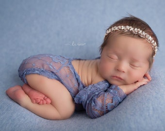 Newborn Stretch Lace Romper in slate blue AND/OR matching rose gold headband headband, newborn prop, Lil Miss Sweet Pea