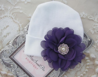 Newborn Hospital Hat, White with a 4 inch Purple Flower,, baby hat, baby gift, new baby, infant gift, from Lil Miss Sweet Pea Boutique