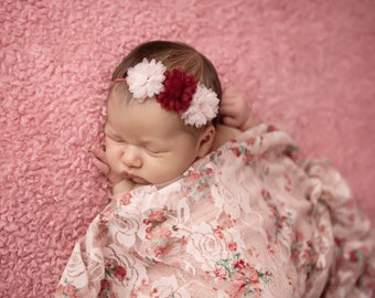 Shades of Pink stretch swaddle AND/OR Chiffon Flower Headband, bandeau bebe, foto, by Lil Miss Sweet Pea