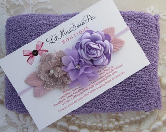 Iris Purple Newborn Baby Swaddle Wrap AND/OR Couture Flower Headband, newborn photos, bebe bandeau, Lil Miss Sweet Pea