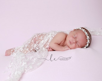 White Floral Lace Newborn Wrap with Fringe AND/Or Silver Rhinestone & White Rose Headband, Baptism, Christening by Lil Miss Sweet Pea