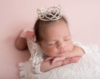 SILVER Rhinestone Baby Crown AND/OR White Lace Romper for newborn, maternity photos, cake topper, bebe foto, infant, Lil Miss Sweet Pea