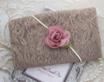Stretch Lace Wrap in Taupe AND/OR Matching Headband for newborn photo shoots, baby swaddle blanket, lace wrap by Lil Miss Sweet Pea - malt