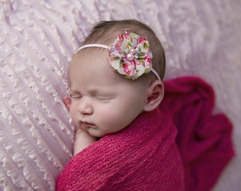 Raspberry Stretch Knit Wrap AND /OR Pretty 2 inch floral print petal flower by Lil Miss Sweet Pea