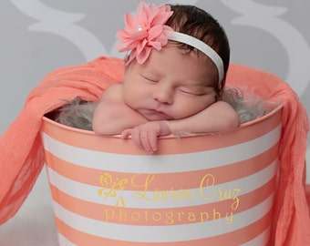 Peach Petal Flower with a Pearl Center -  for newborns, perfect for photo shoots, hairband, headband by Lil Miss Sweet Pea