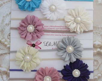 CHOOSE from 8 COLORS - Cute 2 inch  flower, skinny elastic, pearl & rhinestone center, newborn, photo shoots, bebe, Lil Miss Sweet Pea