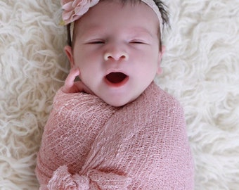 Blush Knit Swaddle Wrap AND/OR Toffee Flower Vintage Lace Headband for girls, newborns, foto bebe, infant photoshoot, Lil Miss Sweet Pea