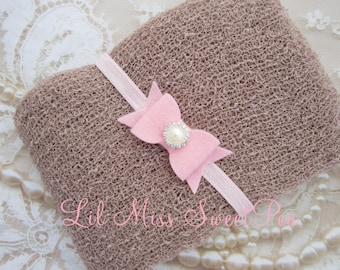 Taupe Knit Wrap AND / OR Matching Pink Felt Bow Headband set for photo shoots, boy swaddle, order separately, Lil Miss Sweet Pea
