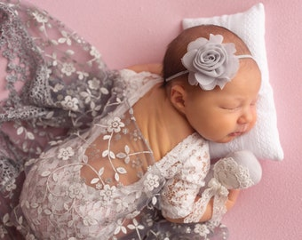 Photographer set - Newborn lace romper, fringe layering & flower headband, photoshoot, by Lil Miss Sweet Pea