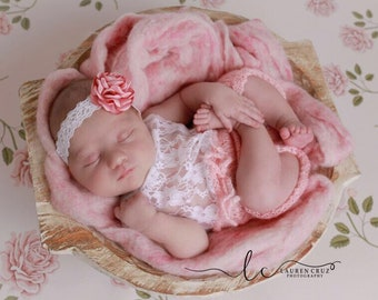 Peachy Pink mohair and lace halter top romper AND/OR satin flower lace headband for newborn photos, by Lil Miss Sweet Pea