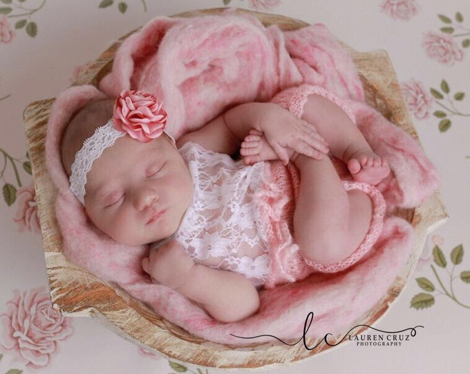 Featured listing image: Baby Pink mohair and lace halter top romper AND/OR satin flower lace headband for newborn photos, by Lil Miss Sweet Pea