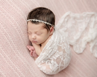 Newborn White Lace swaddle, sheer patterned stretch lace with AND/OR silver pearl headband, bebe, bandeau, Lil Miss Sweet Pea