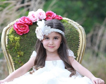 Over the top Princess Headband with a pearl centered satin handmade flower with rhinestone appliqué and feathers by Lil Miss Sweet Pea
