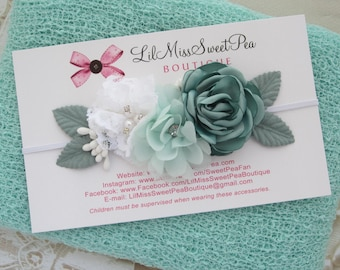 Mint Newborn Baby Knit Swaddle Wrap AND/OR Matching Couture Flower Headband, newborn photos, bebe bandeau, Photographer, Lil Miss Sweet Pea